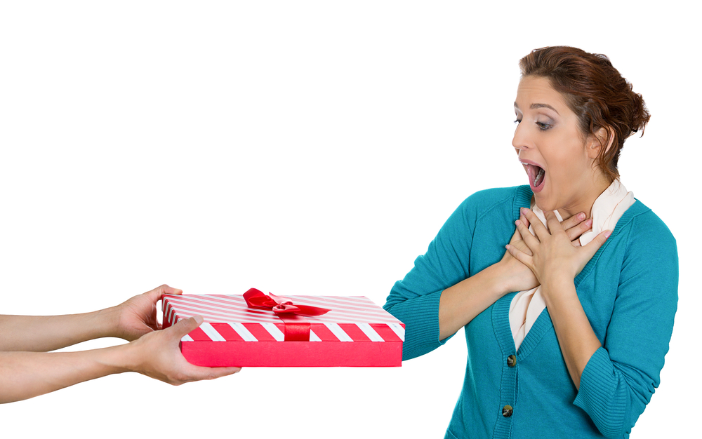 lady with gift